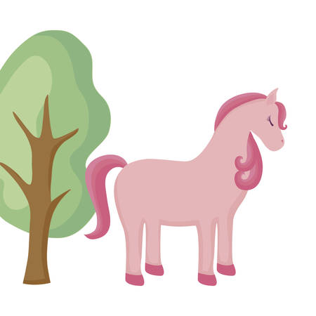 cute unicorn animal with tree plant vector illustration design Иллюстрация