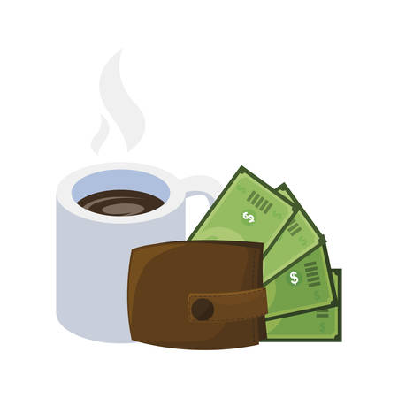 wallet with bills dollars and coffee cup vector illustration design