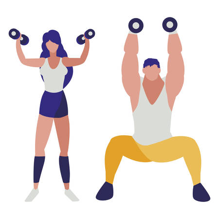 athletic man and woman weight lifting vector illustration design