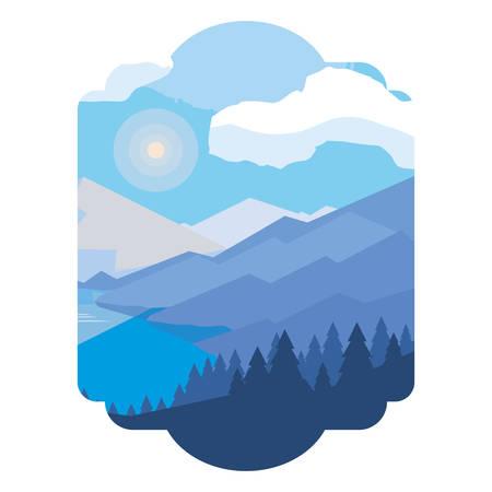 mountains with forest and river snowscape scene vector illustration design Foto de archivo - 129859979
