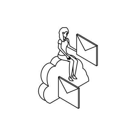 businesswoman worker with cloud computing and envelope vector illustration Ilustração