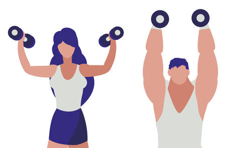 athletic man and woman weight lifting vector illustration design 写真素材 - 129860024