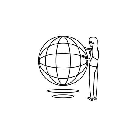 businesswoman worker with sphere browser vector illustration design Ilustração