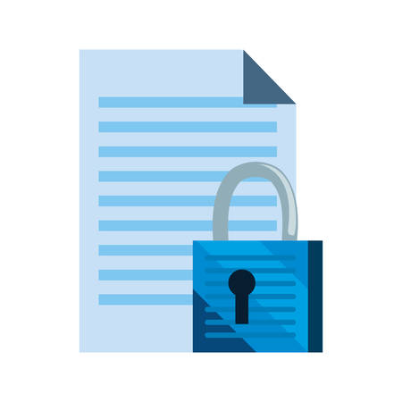 document padlock secure cybersecurity data protection vector illustration 일러스트