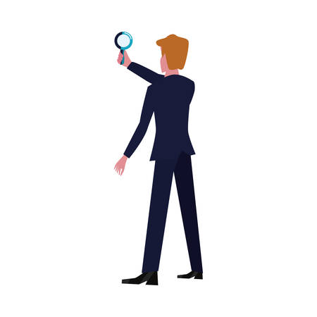 businessman with magnifier character search vector illustration
