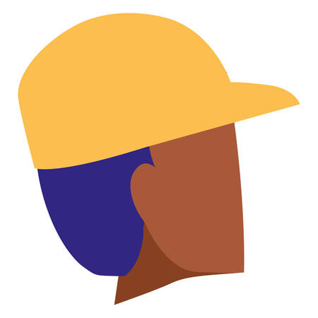 young black man head with cap character vector illustration design