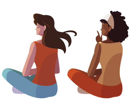 interracial women seated back character vector illustration design 写真素材 - 129860413