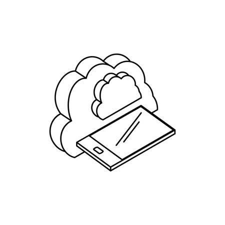 smartphone with cloud computing vector illustration design