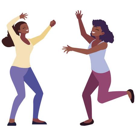 afro young women celebrating vector illustration design