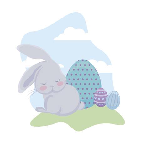 cute rabbit with eggs of easter in grass vector illustration design Иллюстрация