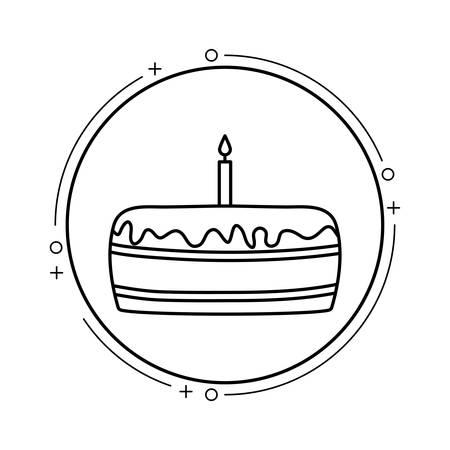 cake of birthday in frame circular vector illustration design Standard-Bild - 129860426