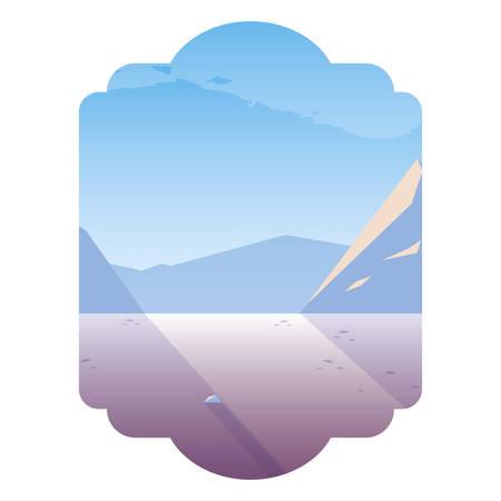beautiful snowscape scene icon vector illustration design Foto de archivo - 129860459
