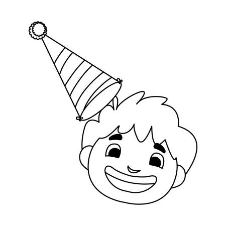cute happy boy head with birthday hat vector illustration design