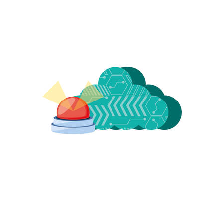 cloud computing with emergency light vector illustration design