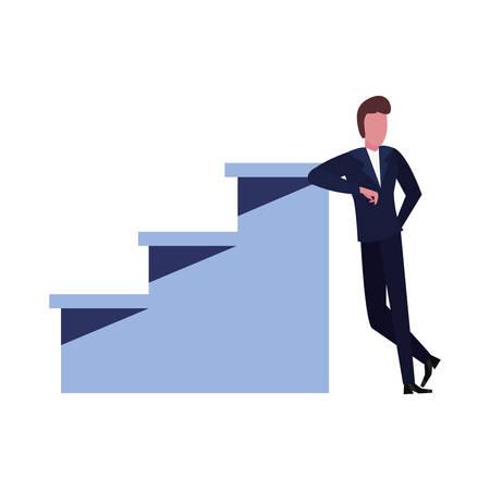 businessman on top success ladder vector illustration Çizim