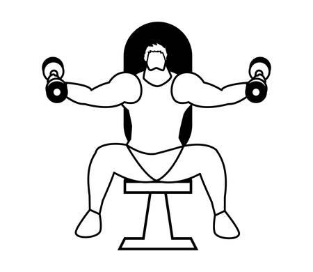 athletic man weight lifting in the gym vector illustration design 写真素材 - 129815284