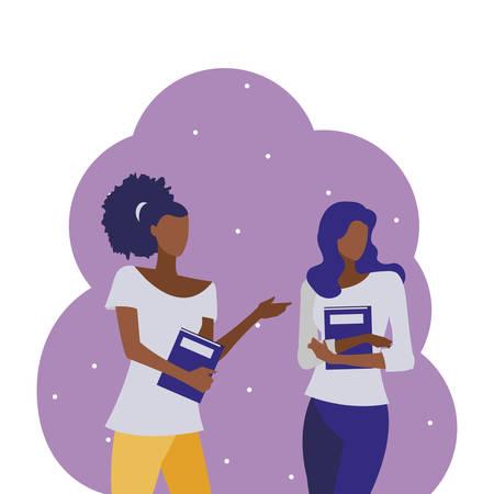 young black girls students modeling vector illustration design