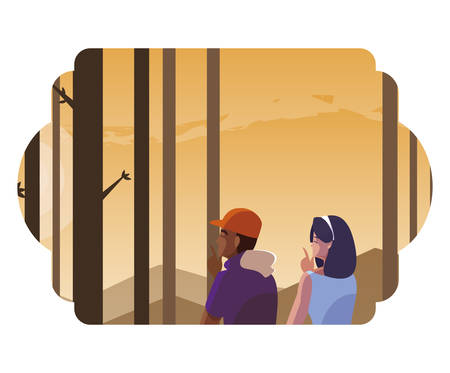 couple contemplating horizon in the forest scene vector illustration design  イラスト・ベクター素材