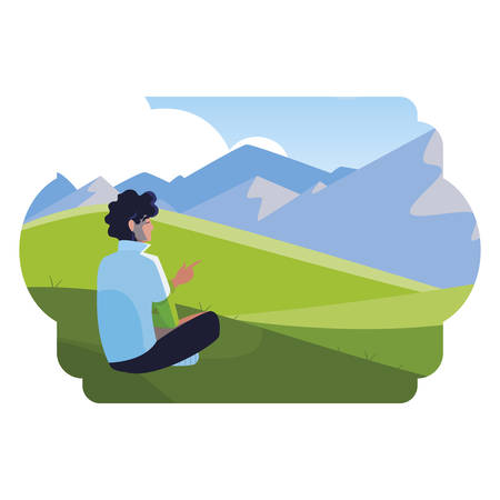 man contemplating the horizon in the field scene vector illustration design 写真素材 - 129860616