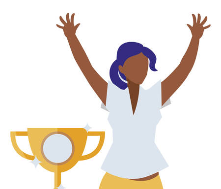 elegant businesswoman black celebrating with trophy vector illustration design