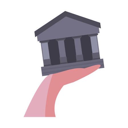 hand holding bank on white background vector illustration Stock Illustratie