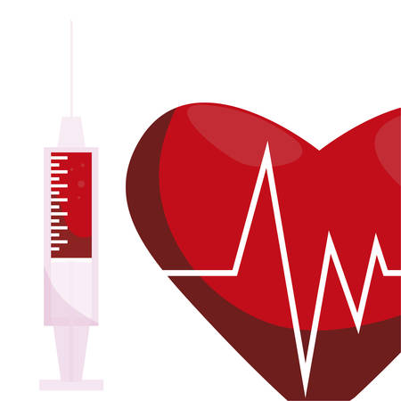 heart cardio with injection vector illustration design