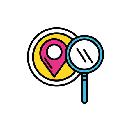pin pointer location with magnifying glass vector illustration design