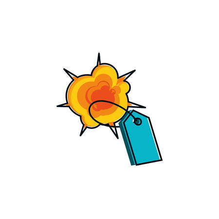 tag commercial with explosion isolated icon vector illustration design