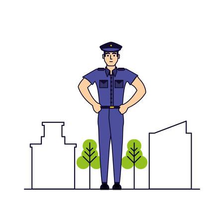 police officer with cityscape vector illustration design Иллюстрация