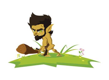 caveman gnome in the camp magic character vector illustration design  イラスト・ベクター素材