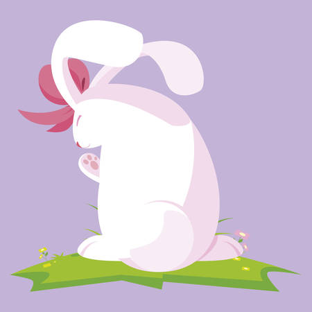 cute rabbit easter female with bow character vector illustration design
