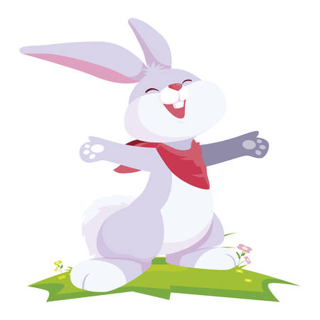 cute rabbit easter in the camp vector illustration design