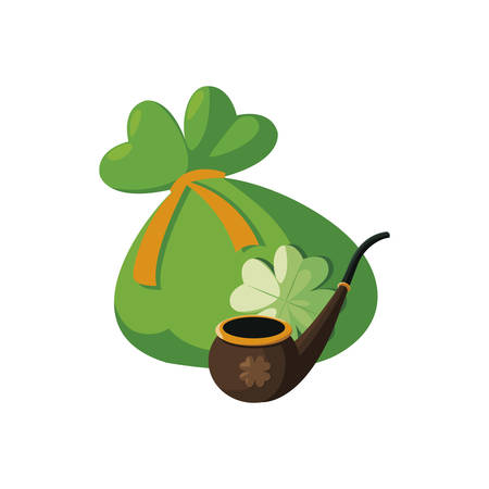 saint patrick pipe wooden with treasure sack vector illustration design