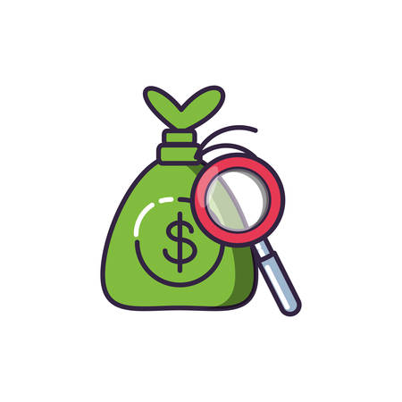 magnifying glass with money bag vector illustration design Ilustracja