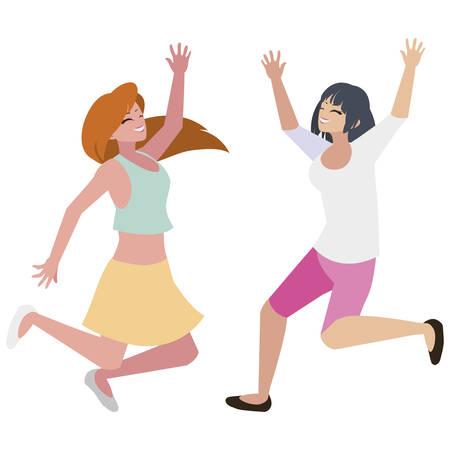 happy young women celebrating characters vector illustration design Standard-Bild - 129815278