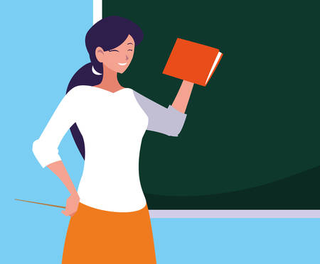 teacher female with chalkboard and book vector illustration design Иллюстрация