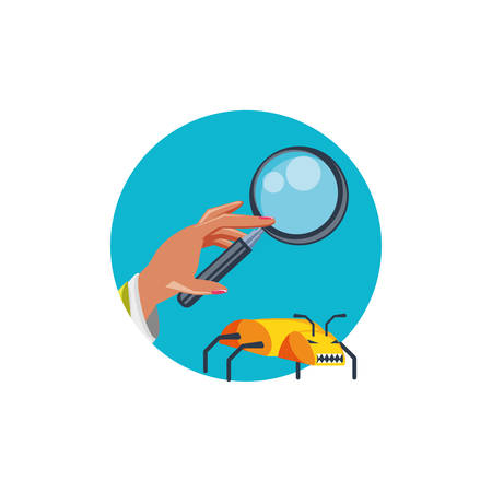 hand with magnifying glass and bug infection vector illustration design
