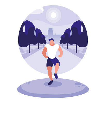 young man running outdoor vector illustration design Ilustrace