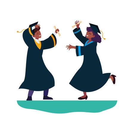 afro couple students graduated celebrating vector illustration design