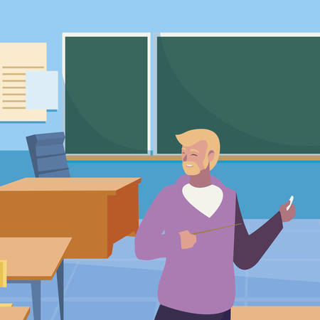 teacher male in the classroom character vector illustration design Иллюстрация
