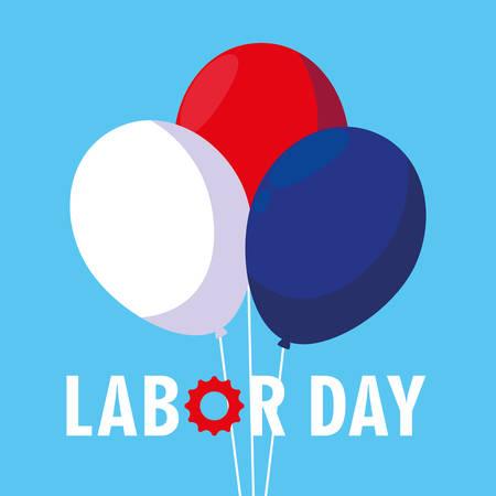 labor day card with balloons helium vector illustration design Иллюстрация