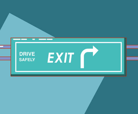 drive safely exit traffic signal vector illustration