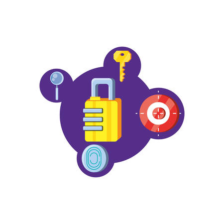 safe padlock with security icons vector illustration design