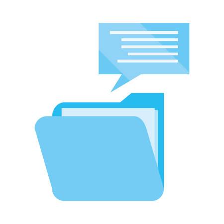 folder speech bubble cybersecurity data protection vector illustration Ilustracja