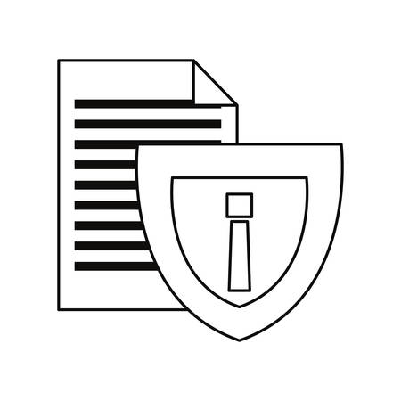 file shield cybersecurity data protection vector illustration outline