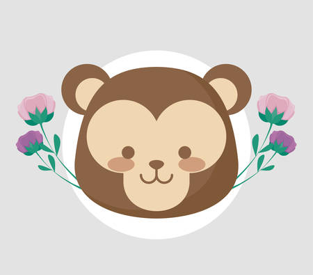 head of cute monkey with flowers vector illustration design Ilustrace