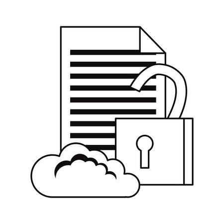 cloud computing padlock document cybersecurity data protection vector illustration outline 일러스트