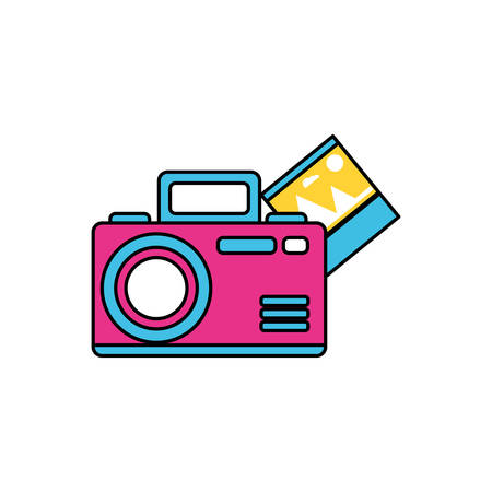 camera photographic with picture file vector illustration design