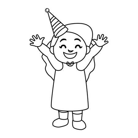 cute happy girl with birthday hat vector illustration design 向量圖像