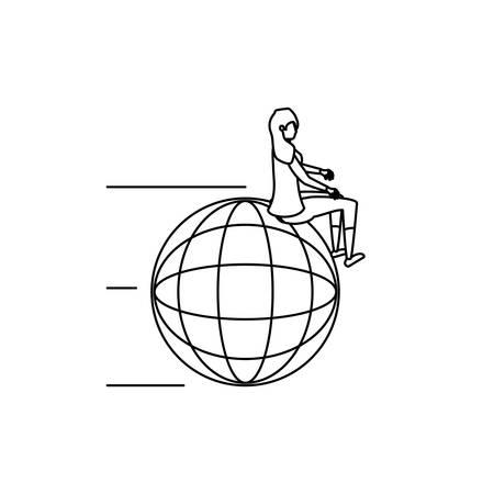 businesswoman worker seated in sphere browser vector illustration design Ilustração